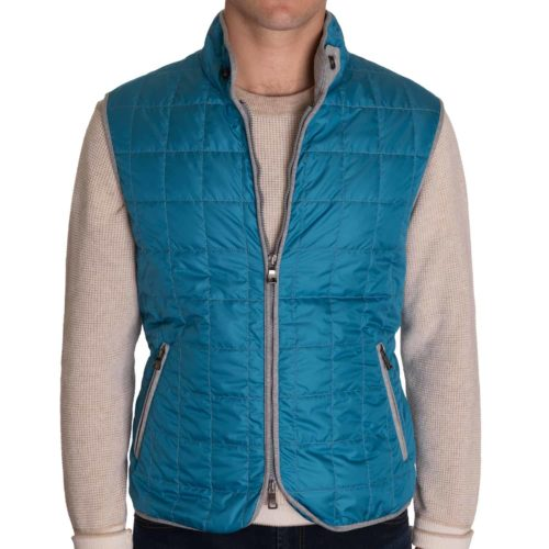 Waterville Theo Quilted Nylon Tech Vest in Mid Blue