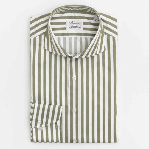 Stenstroms Dress Shirt in a Green Twill Awning Stripe