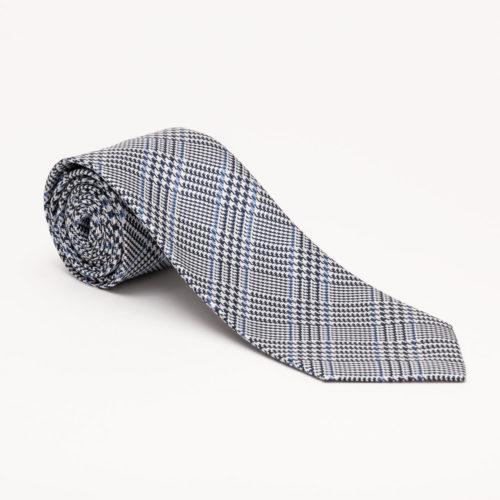 Robert Jensen Plaid Woven Tie in Navy