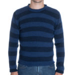 Eidos Striped Mohair Blend Crewneck in Blue