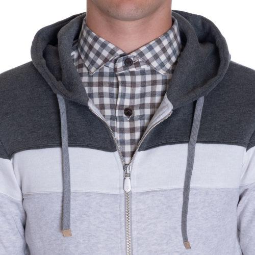 Eleventy Cotton Hoodie in Grey Panels