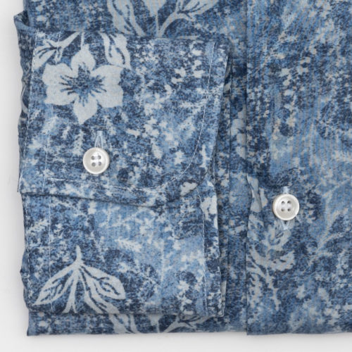 Khakis Brand Shirt : Floral Print on Indigo Blue