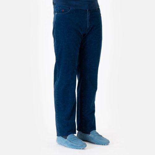 Marco Pescarolo 5 Pocket Cotton Cash Stretch Pincord Pant in Blue