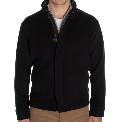 Peter Millar Crown Flex-Fleece Bomber in Black