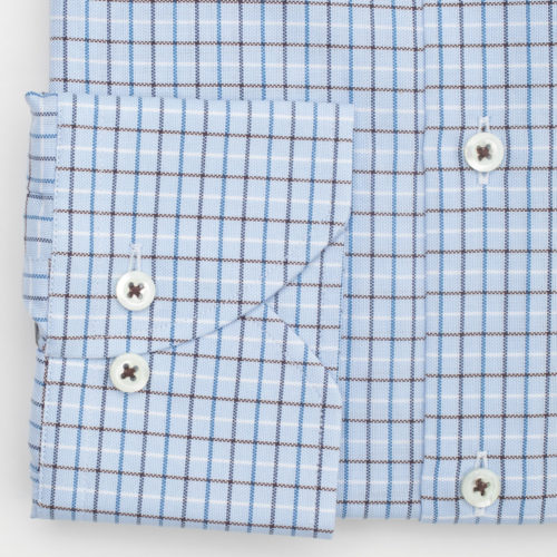 Stenstroms Dress Shirt in a Multi Blue on Blue Check
