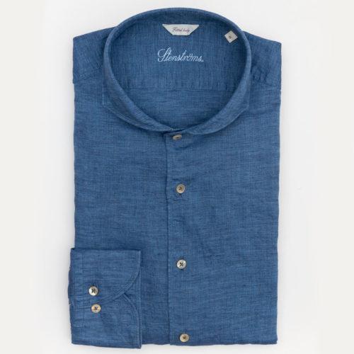 Stenstroms Dress Shirt in a Solid Blue Linen