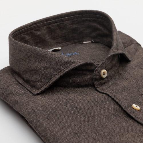 Stenstroms Dress Shirt in a Solid Brown Linen