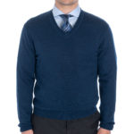 Khakis Brand Extra-fine Wool V-Neck in Navy