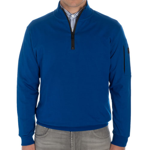 Paul & Shark Yachting Organic Cotton Quarter Zip in Blue