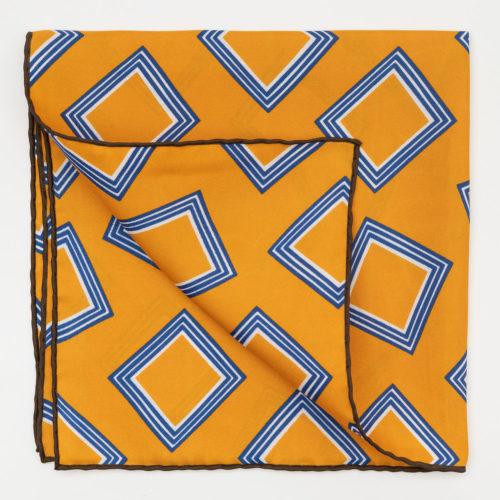 Seaward & Stearn Box Print Pocket Square in Gold