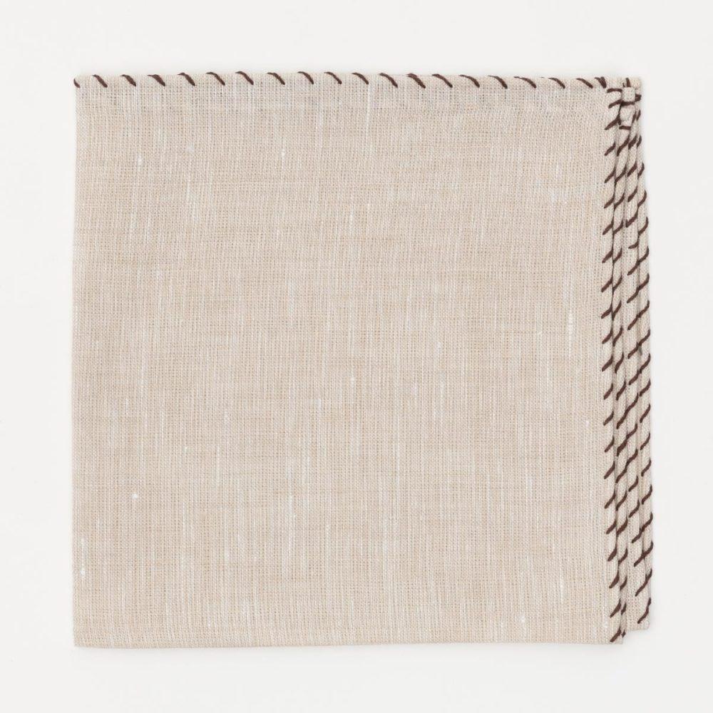 Khakis Brand Beige Whip Linen Pocket Square