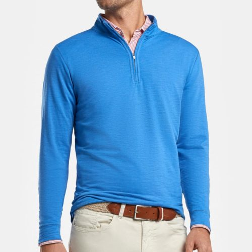Peter Millar Summit Slub Cotton-Blend Quarter-Zip in Blue