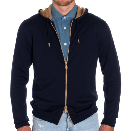 Eleventy Wool Full Zip Hoodie in Navy