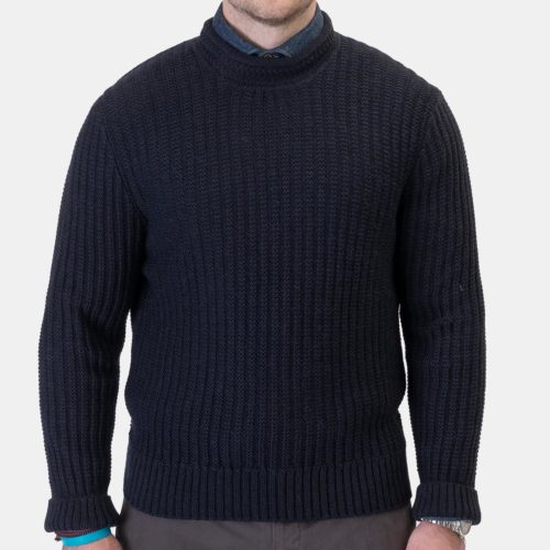 Inis Meain Alpaca Alpaca Silk Rolled Crewneck in Midnight