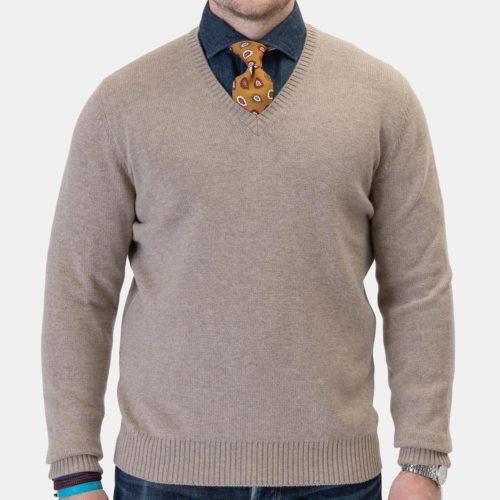 Khakis Brand 4-Ply Italian Woolcash V-Neck in Oatmeal