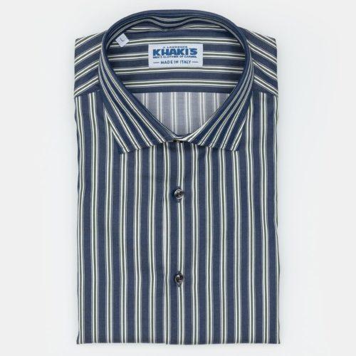 Khakis Brand Navy & Green Striped Sport Shirt