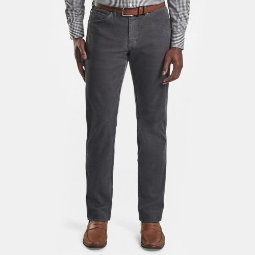 Peter Millar Soft Cord 5 Pocket Pant in Smoke Grey