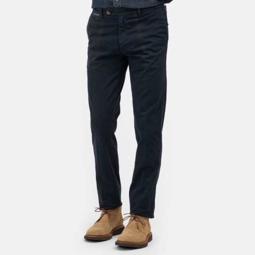 Eleventy Cotton Stretch Flat Front Trouser in Navy