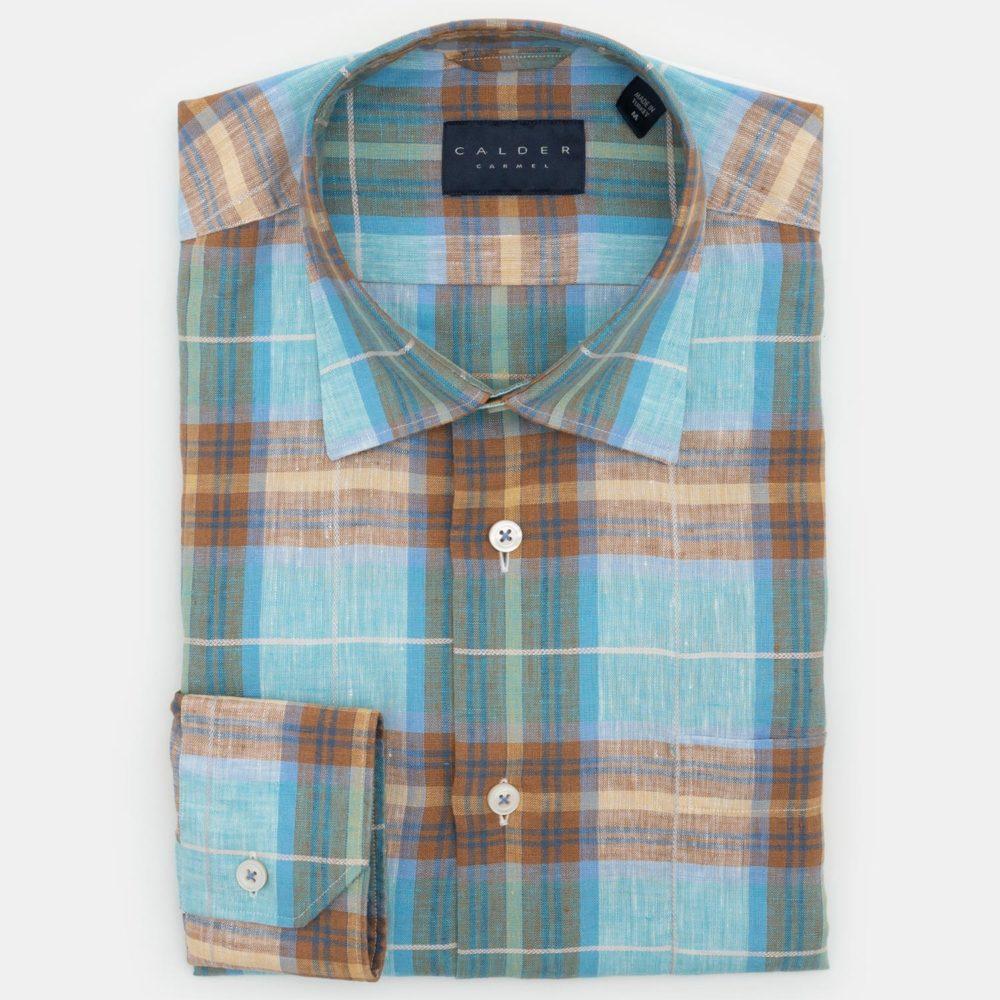 Calder Carmel Shirt in a Turquoise & Tan Plaid
