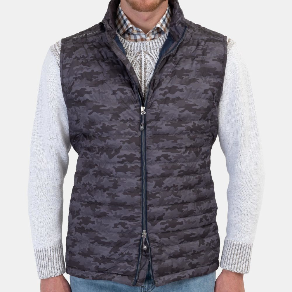 Peter Millar Hyperlight Quilted Vest in Charcoal Camo