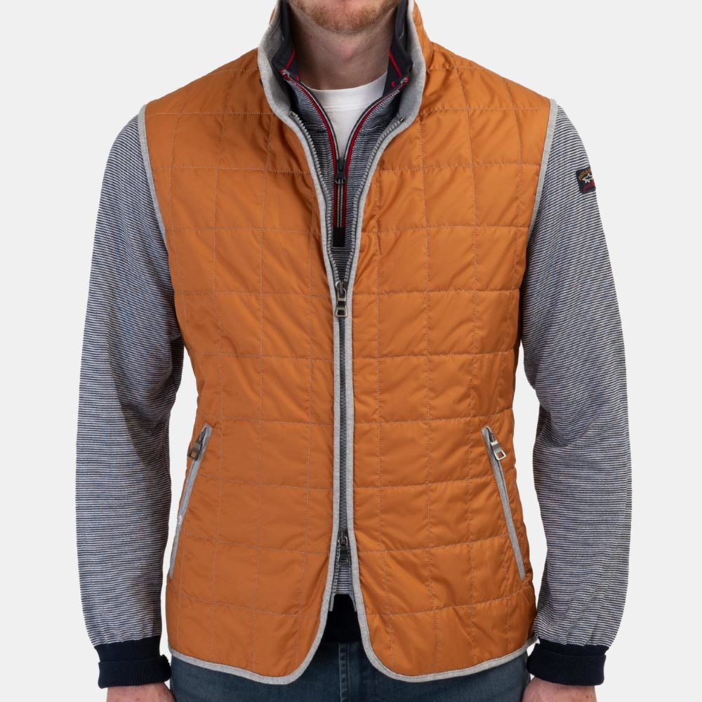 Waterville Theo Quilted Nylon Tech Vest in Orange