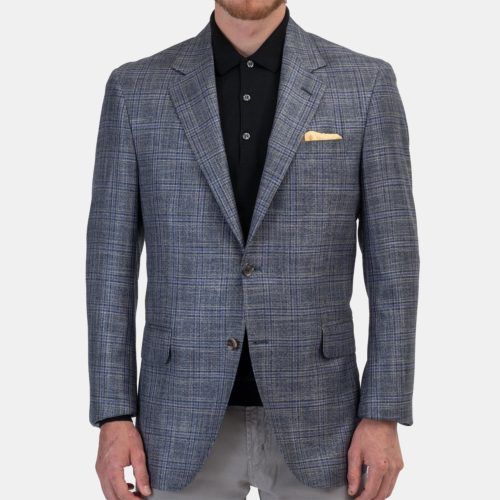 Khakis x Coppley Sport Coat in Grey & Navy Plaid