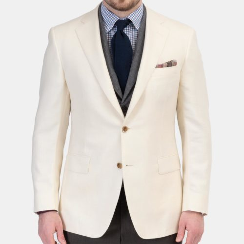 Samuelsohn x Khakis Sport Coat in a Ivory Solid