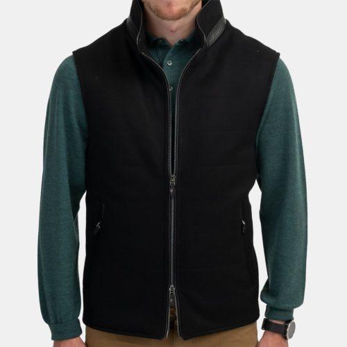 Khakis Italy Lux Wool Vest in Black