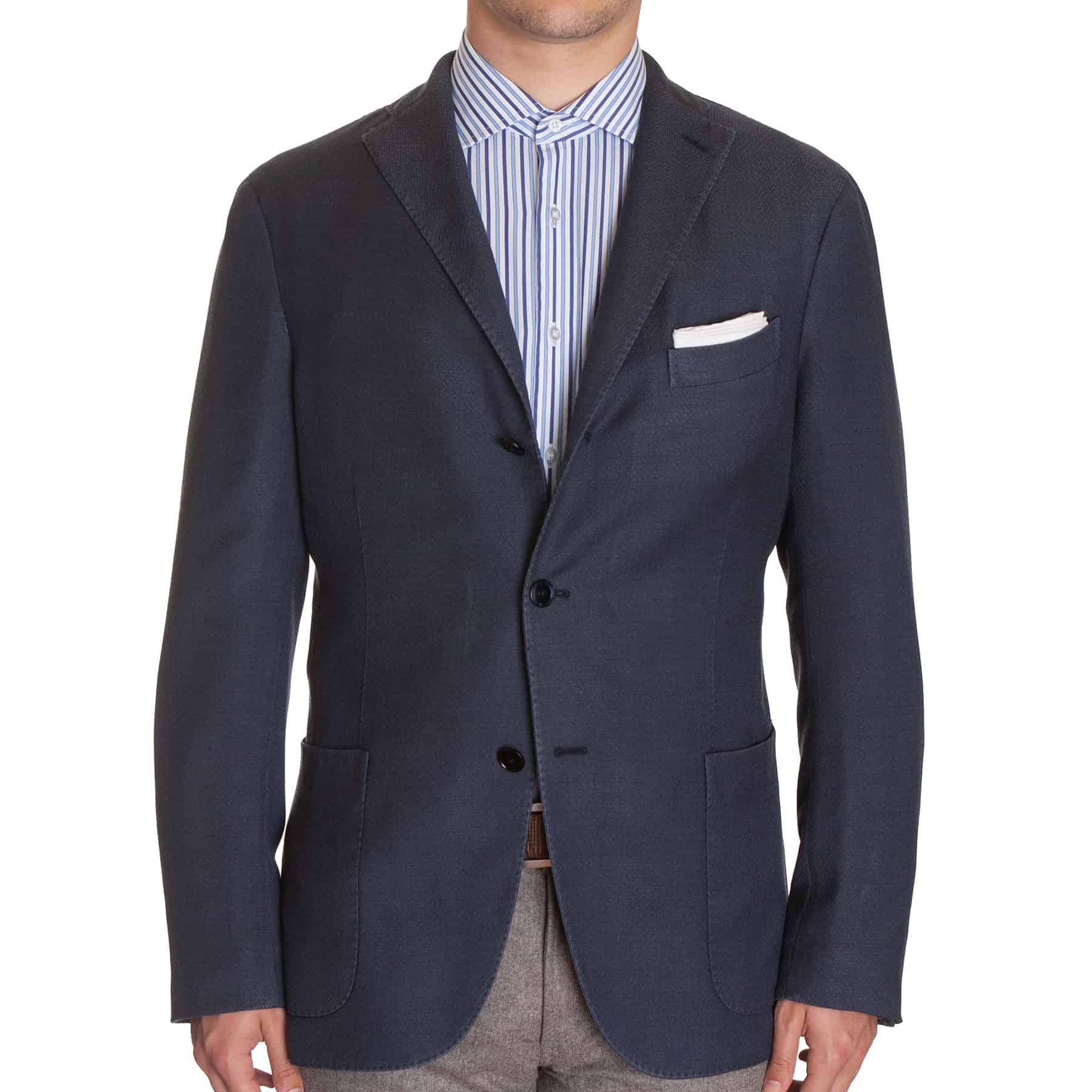 Boglioli Navy Mini Herringbone Soft Jacket