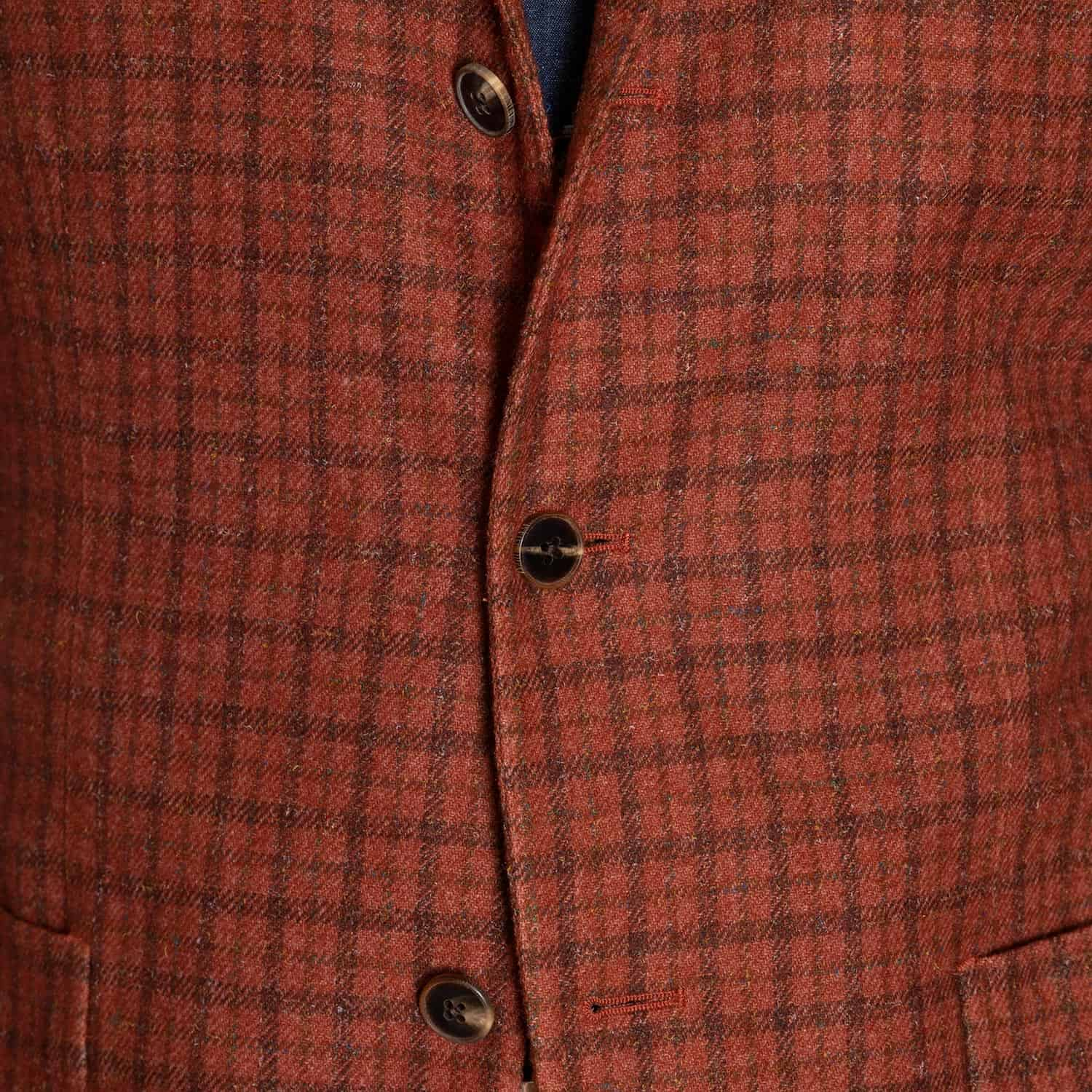 Boglioli Orange Check Wool Soft Jacket