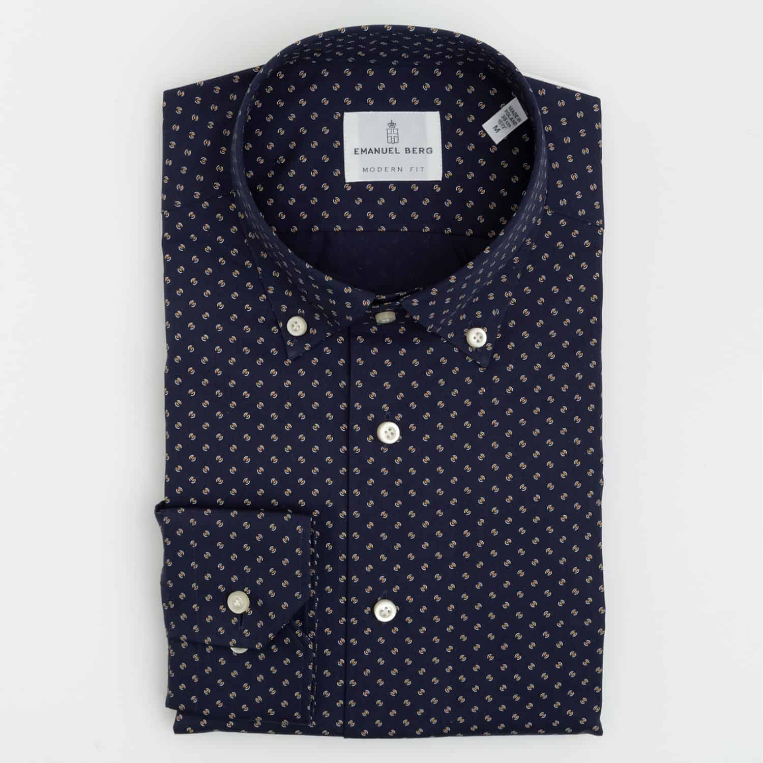 Emanuel Berg Mini Slotted Circle Print Shirt in Navy