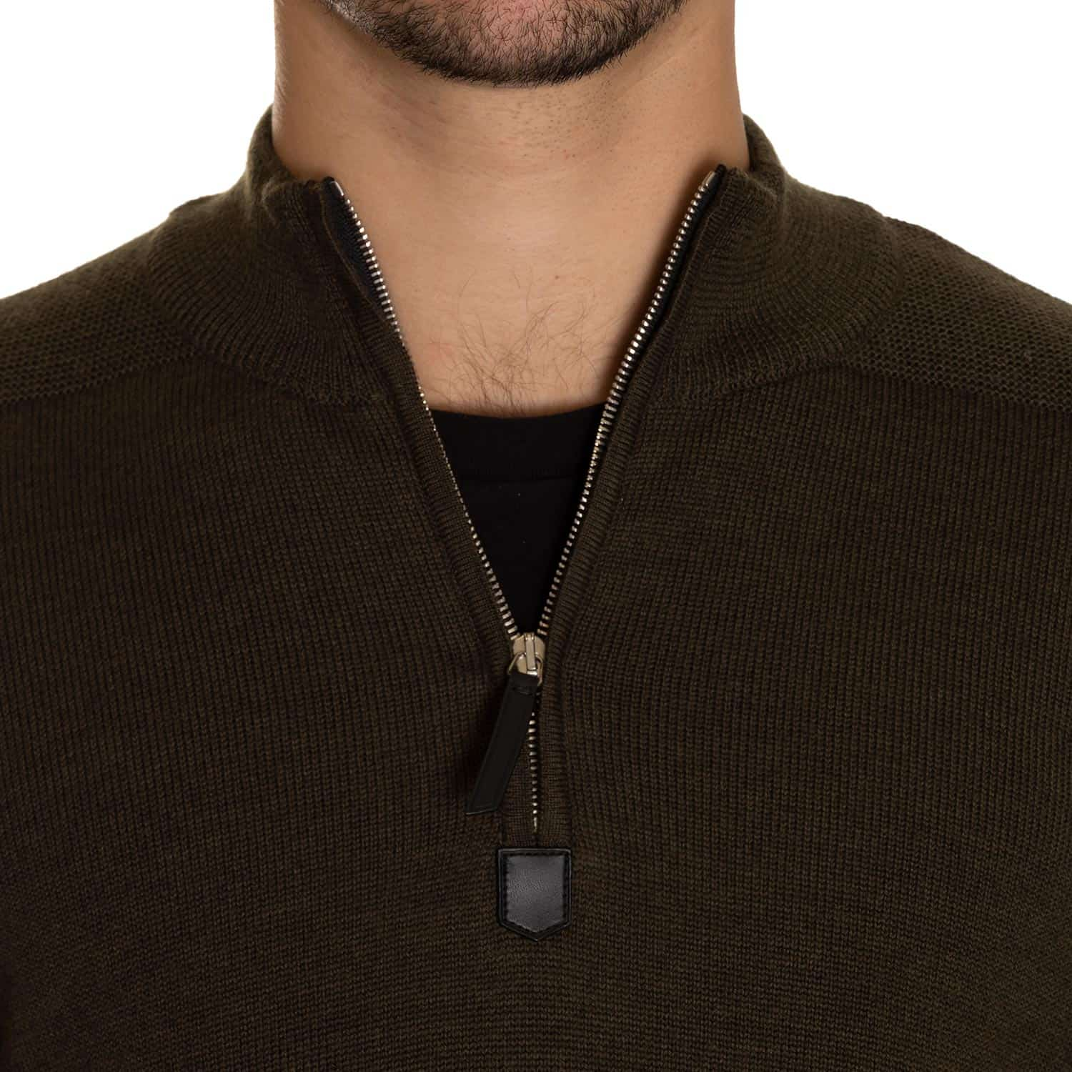 Eidos Dark Green Wool Quarter Zip Sweater