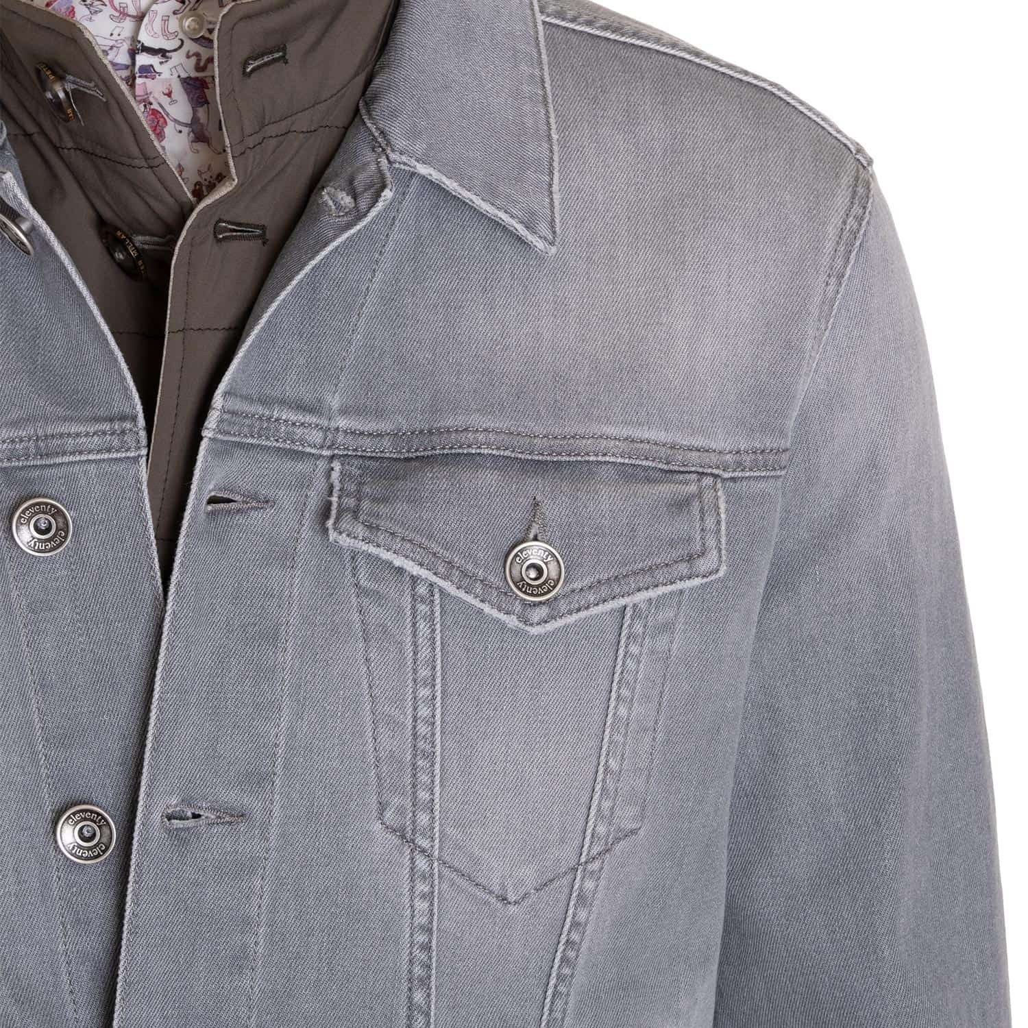 Eleventy Trucker Jacket in Grey Denim