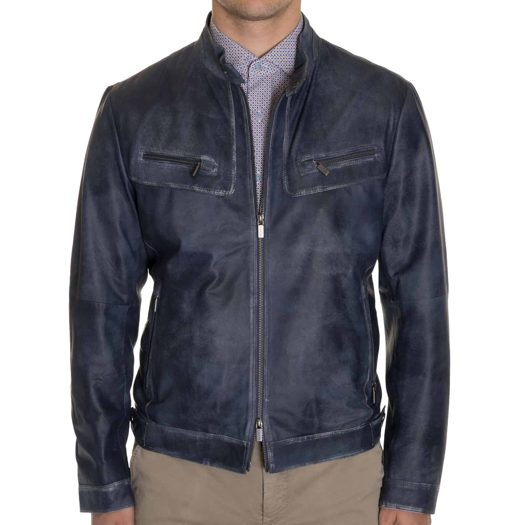 Gimos Blue Washed Lamb Racer Jacket
