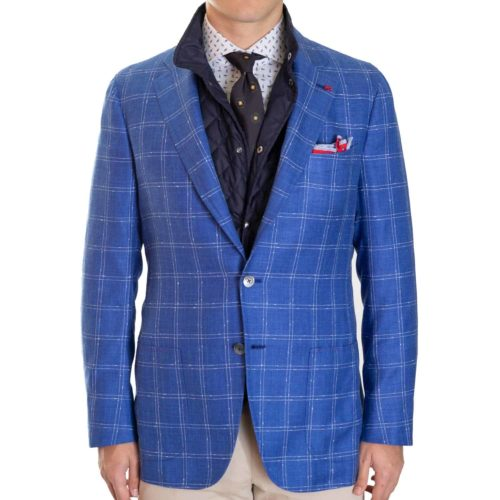 Isaia Bright Blue Windowpane Sport Coat