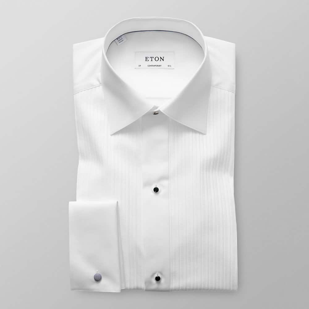 Eton Contemporary Fit Tuxedo Shirt in White Plisse
