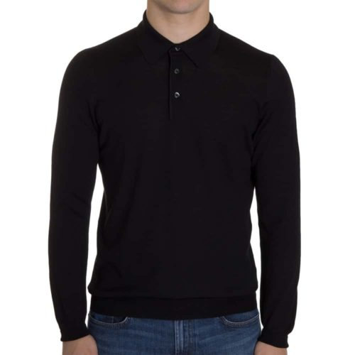 Khakis Italy Black Wool Button Polo
